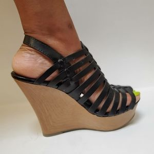 Black Wedges with Faux Wooden Platform